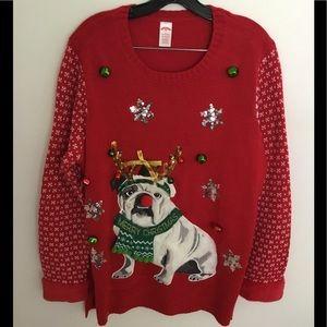 New Bulldog Christmas Sweater 1X